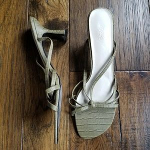 CATO Army Green strappy sandal block heels